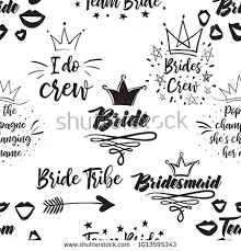 wedding slogans hen bachelorette party vector seamless pattern stock vector