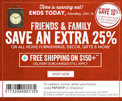 cost plus world market hours 25 friends and family coupon