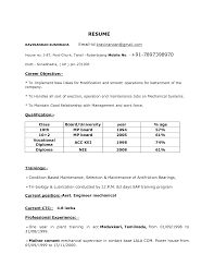 Resume Examples Mechanical Engineer Resume Format Sles For Mba Freshers 28 Images 100 Resume