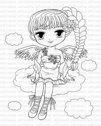 digi stamp pretty angel coloring big eyed
