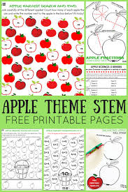 apple theme worksheets and apple stem activities free pages