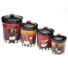 themed kitchen canisters set of 4 kitchen canisters with a bistro waiter theme