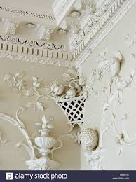 Large Cornice Close Up Of Ornate Rococo Plasterwork On Walls And Cornice In
