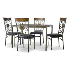 baxton studio fiore and metal 7 piece transitional dining set