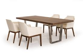 Byron MidCentury Walnut  Stainless Steel Dining Table - Century dining room tables
