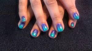 green and purple gel polish fade nail art gallery