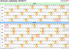 calendars 2016 2017 as free printable excel templates