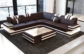 L Leather Sofa Antonio L Shape Sofa With Led Lights Sofa Dreams