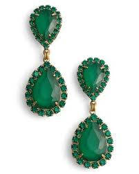 green drop earrings lyst loren drop earrings in green save 63