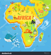 Africa Map Rivers Cute Cartoon Africa Continent Map Mountainsriverstrees Stock