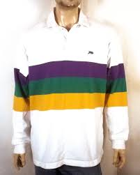 mardi gras shirts new orleans vtg 90s perlis striped crawfish emblem polo rugby shirt mardi gras