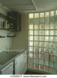 brique de verre cuisine banques de photographies courbé brique verre mur dans