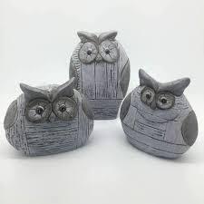 sia decorative ceramic grey owls set of 3 duck barn interiors