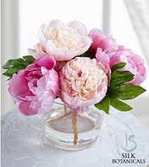 silk peonies silk botanicals mixed pink peonies in glass vase royal fleur