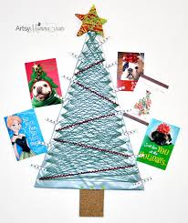 christmas card display holder diy yarn wrapped christmas tree card holder