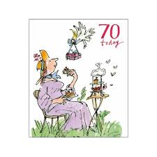 lady having cake in garden quentin blake 70th birthday same day