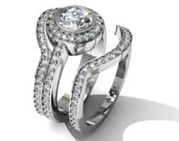 interlocking engagement ring wedding band actually my ring circle cut diamond with a halo on a pavé
