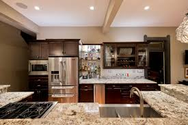 Kitchens With Dark Brown Cabinets French Door Refrigerator Dark Brown Cabinets White Granite