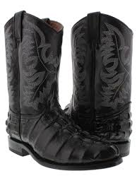 mens cowboy crocodile alligator tail leather roper black western