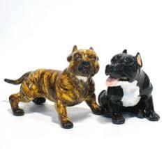 american pitbull terrier figurines blue shar pei salt pepper art painting puppies figurine blue