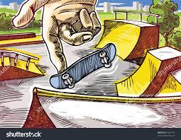 finger skateboarding practicing 360 onefoot jump stock vector