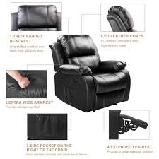 Extra Wide Leather Chair Amazon Com Merax Power Massage Reclining Chair With Heat And