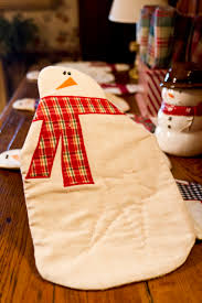 Christmas Plaid Table Runner by Snowman Table Runner Wendys Hat