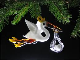 stork with baby ornament