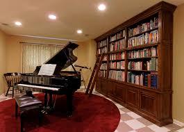multi position ladder living room traditional with bookshelves