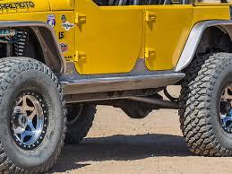 yellow jeep 4 door jeep jk 4 door rocker guards aluminum genright jeep parts