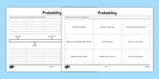probability activity sheet second level probability chance