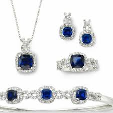 blue sapphire necklace sets images Jcpenney jewelry sterling silver blue sapphire 4pc necklace set jpg