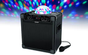 ion portable speaker system with party lights party rocker plus rechargeable speaker with spinning party lights