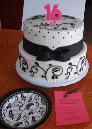 cake believe black and white sweet 16