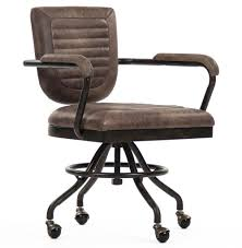 Office Chair Top View Noa Industrial Rustic Top Grain Leather Adjustable Rolling Task