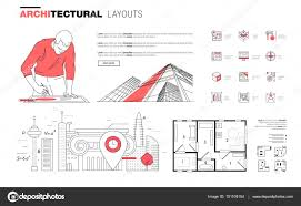 architectural layouts architectural layouts in trendy polygonal line composition stock