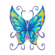 printed blue yellow butterfly usimprints