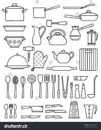 set silhouette kitchen utensils collection cookware stock vector