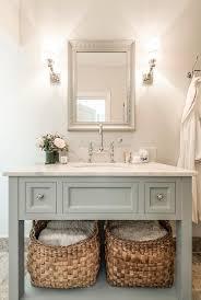 blue gray vanity with shelf transitional bathroom