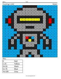 1g23 counting robot first grade math coloring squared