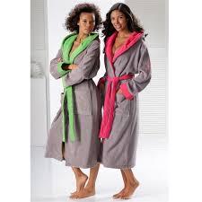 robe de chambre eponge femme peignoir de bain bicolore à capuche femme en éponge liliane