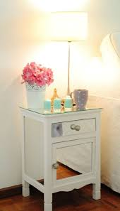 furniture graceful white wooden nightstand plus glass top also