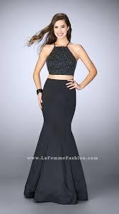 two piece la femme 24243 black open back lace dresses for girls cheap