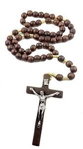 wall rosary large wall rosary wood catholic necklace metal jesus
