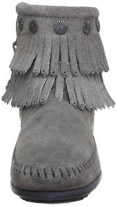 womens boots grey suede minnetonka fringe side zip boot womens boots grey 7 uk