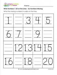 write numbers 1 20 6 numbers missing numbers worksheets