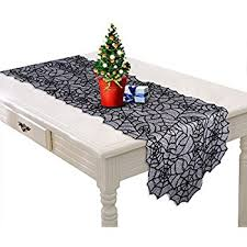 amazon com ourwarm black christmas table runner lace spider web