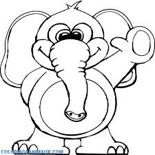 🎨Coloriage éléphant fait coucou à imprimer