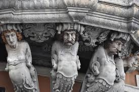 ornamental statues a balcony stockholm sweden stock photo