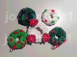 how to make a rainbow loom christmas holiday wreath charm part 1